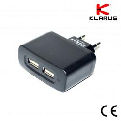 Adaptateur secteur prise double pour cordon de chargement USB