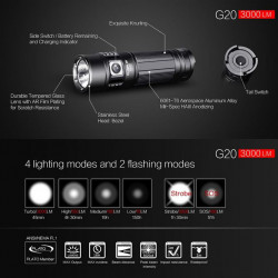 Lampe torche rechargeable G20 LED