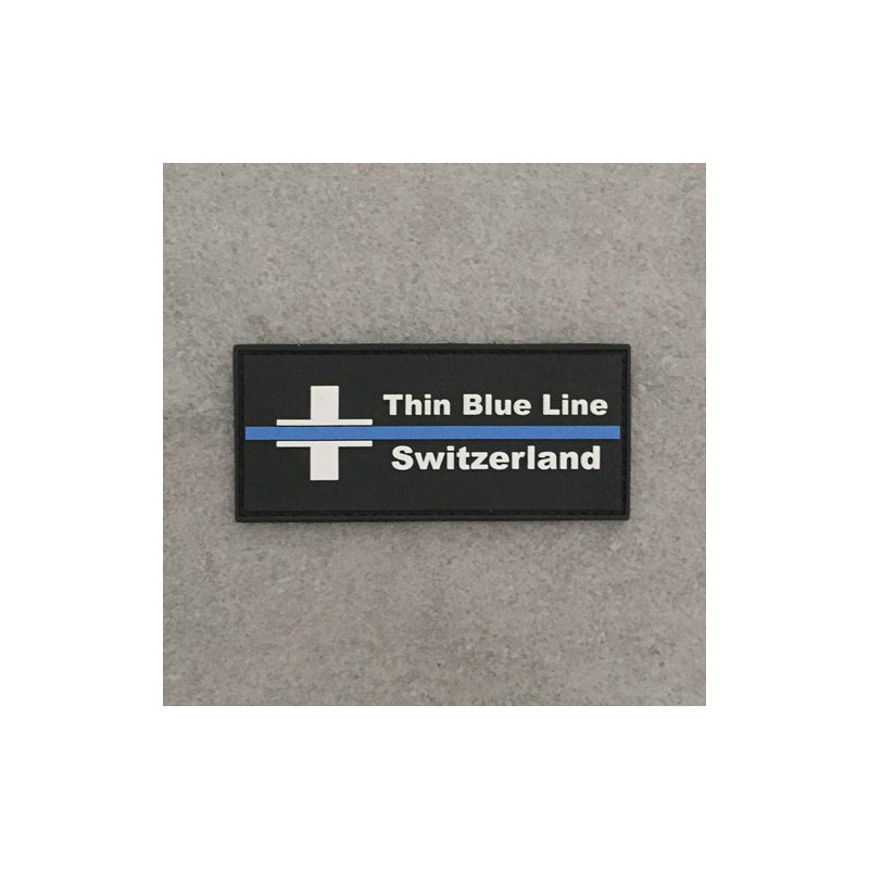 "Badge rectangle ""The Thin Blue Line Switzerland"""