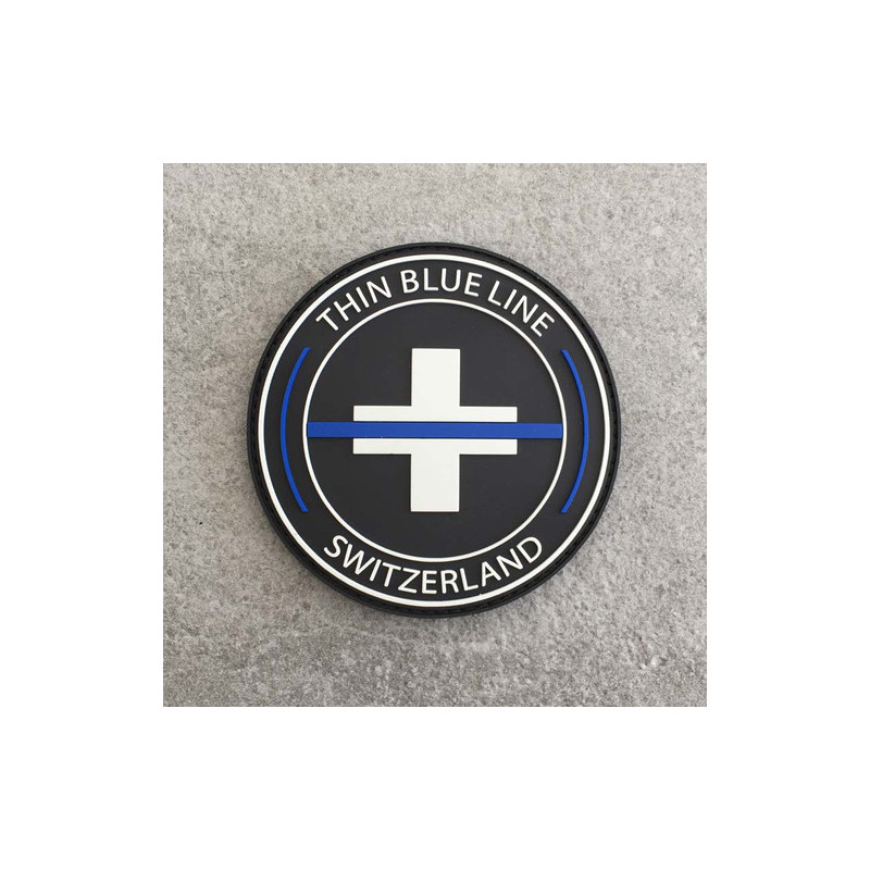 "Badge rond ""The Thin Blue Line Switzerland"""